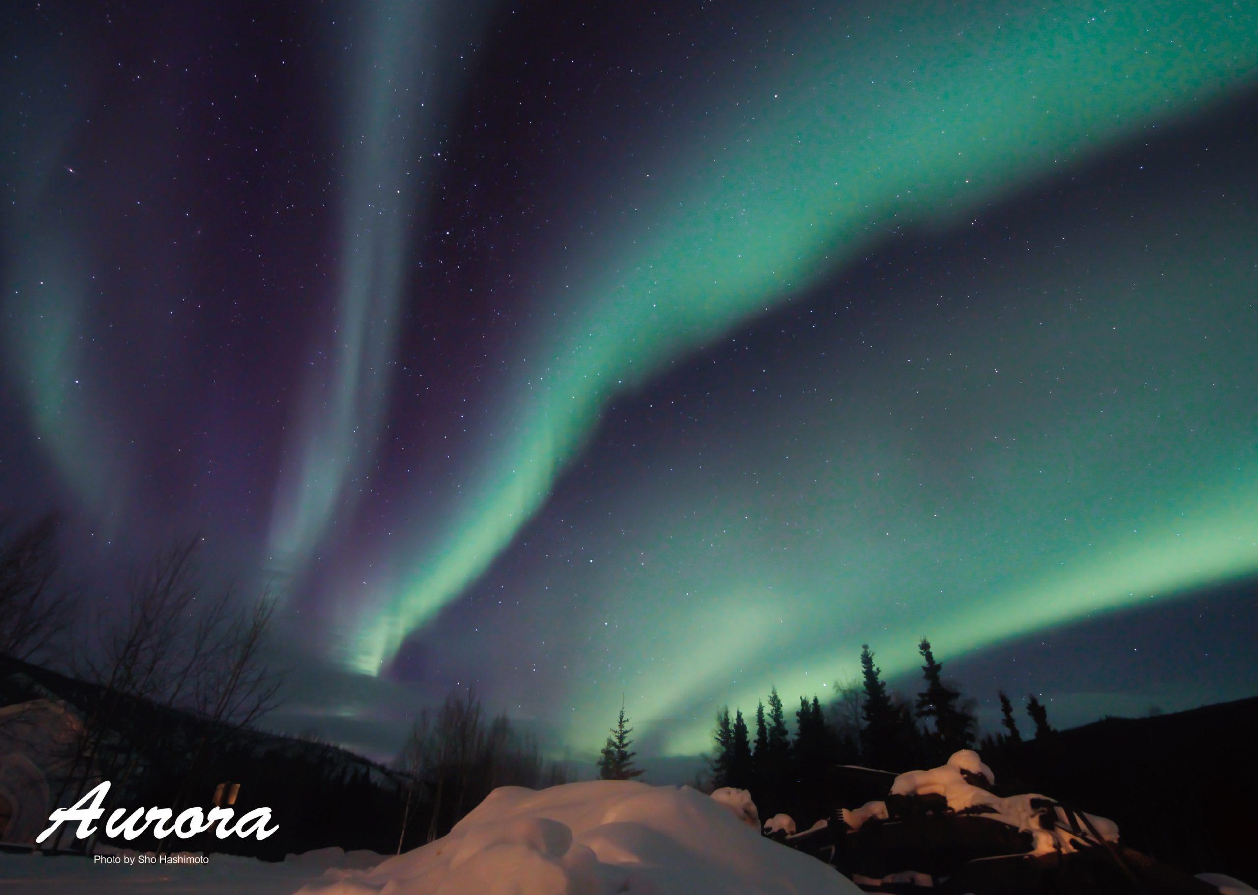 絶景のオーロラ/アラスカ・チェナ温泉にて